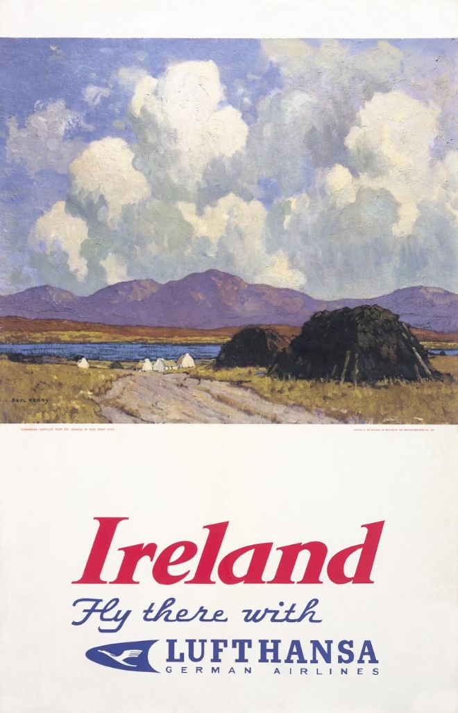Irish Art Travel Poster. Ireland by Paul Henry, Fly there with Lufthansa